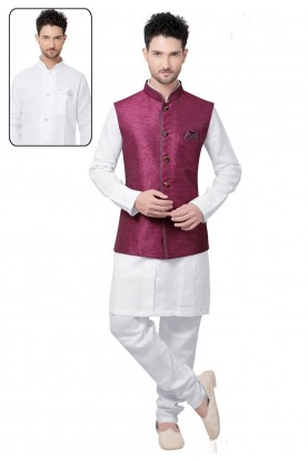 Men's Linen,Jute White,Purple Color Readymade Kurta Pyjama With Jacket.