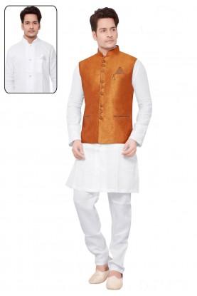 White,Orange Color Designer Kurta Pajama.
