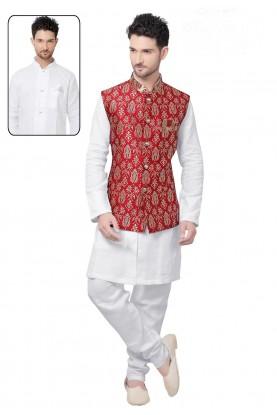Men's Exquisite White,Maroon Color Readymade Kurta Pajama With Jacket