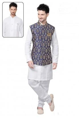 Exquisite Raglan Sleeves Men's White,Blue Color Readymade Kurta