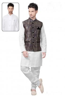 White,Navy Blue Color Brocade Silk Kurta Pajama