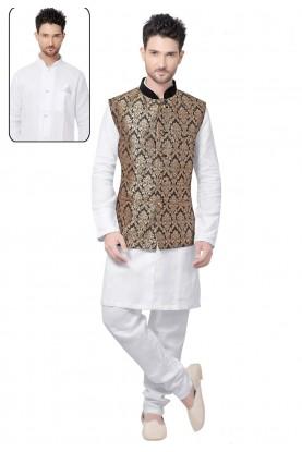 Exquisite White,Golden Color Men's Readymade Kurta Pajama.