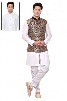 Incredible Raglan Sleeves White,Blue Color Readymade Kurta Pajama.