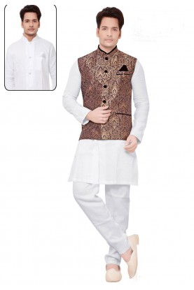 Exquisite White,Golden Color Men's Readymade Kurta Pyjama.
