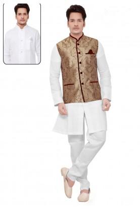 Exquisite White,Cream Color Readymade Kurta Pyjama With Jacket.