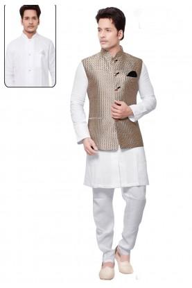 White,Beige Color Linen,Cotton Readymade Kurta Pyjama