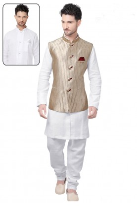 Exquisite White,Beige Color Readymade Kurta For Mens