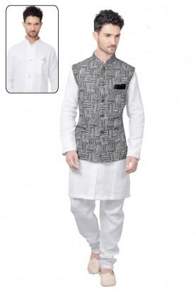 White,Black Color Designer Kurta Pajama.