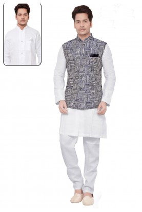 White,Blue Color Linen,Cotton Kurta Pajama.