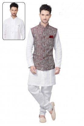 White,Maroon Color Designer Kurta Pyjama With Jacket