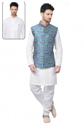 Exquisite Raglan Sleeves White,Green Color Readymade Kurta For Men's