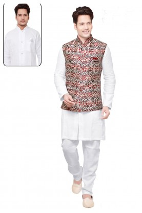 White,Maroon Color Readymade Kurta Pyjama