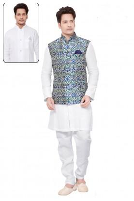 White,Blue Color Men's Kurta Pajama With Jacket