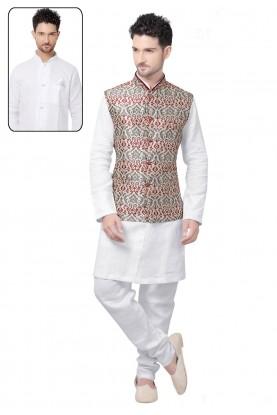 Designer Kurta Pajama in White,Cream Color