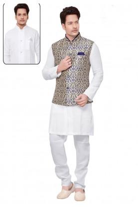 Men's Exquisite White,Cream Color Readymade Kurta