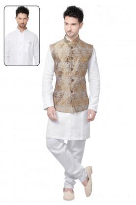 White,Golden Color Kurta Pyjama With Jacket
