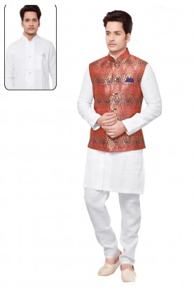 Exquisite White,Red Color Men's Readymade Kurta Pyjama With Jacket.