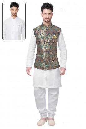 White,Golden Color Brocade Silk Kurta Pajama