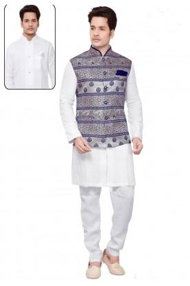 White,Multi Color Designer Kurta Pyjama.