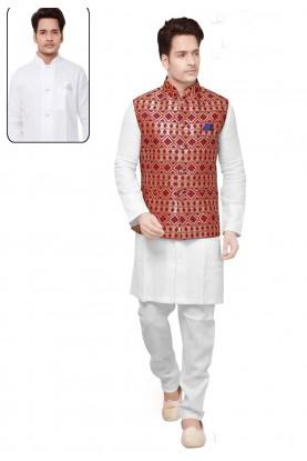 Traditional Look White,Multi Color Kurta Pyjama With Jacket.