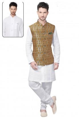 Jacquard,Silk Readymade Kurta Pajama With Jacket