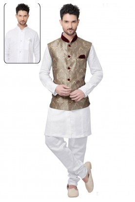 White,Cream Color Designer Kurta Pajama With Jacket.