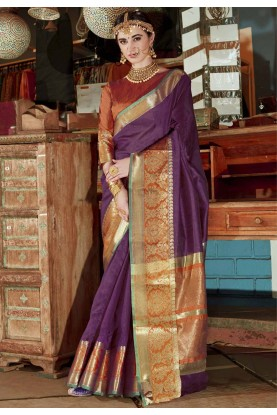 Women's Classic Looking Purple Color Silk Ethnic Saree