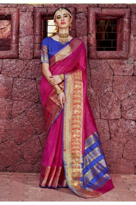 Wonderful Printed Pallu Saree in Pink Color
