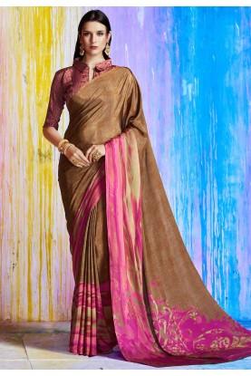 Nice Looking Brown Color Printed Saree
