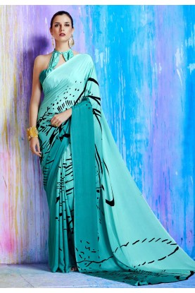 Turquoise Color Saree With Gorgeous Printed Pallu