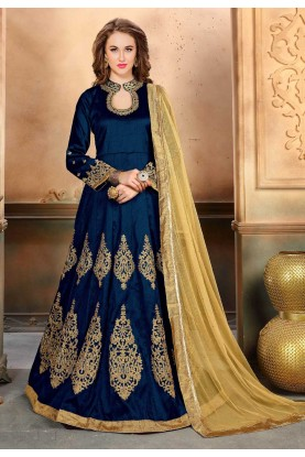 Nice Looking Blue Color Party Wear Salwar Kameez