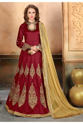 Attractive Looking Maroon Color Anarkali Salwar Kameez