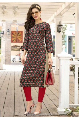 Incredible Princess Cut Kurti Style in Red Color