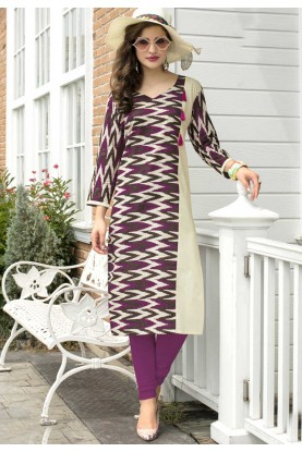 Beig,Purple Color with Printed Work Incredible Readymade Kurti