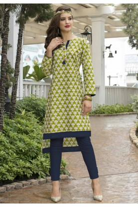 Green,White Color Casual Readymade Kurti
