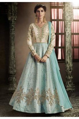 Turquoise Color Anarkali Salwar Kameez