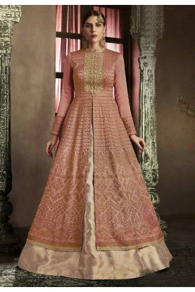 Beautiful Peach Color Party Wear Salwar Kameez