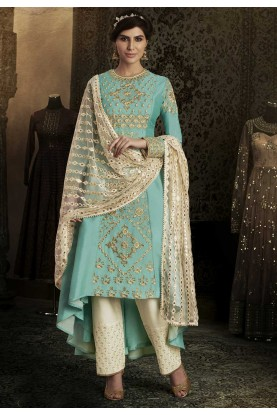 Attractive Turquoise Color Party Wear Salwar Kameez