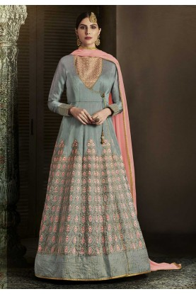 Grey Color Embroidery Work Amazing Unstitched Salwar Kameez