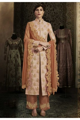 Peach Color Beautiful Salwar Kameez in Brocade Fabric