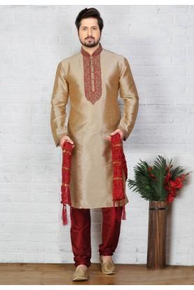 Beige Color Art Silk Kurta Pajama