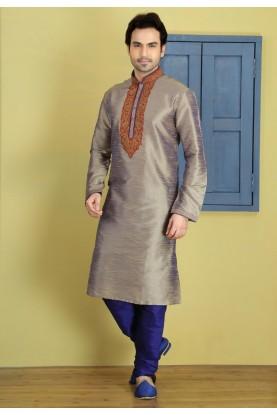 Exquisite Grey Color Art Silk Fabric Men's Readymade Kurta Pajama.