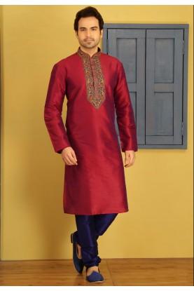 Red Color Art Silk Fabric Designer Kurta Pajama