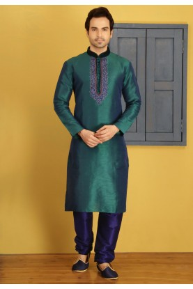Exquisite Green Color Art Silk Fabric Men's Readymade Kurta Pajama.