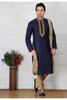 Blue Color Party Wear Kurta Pajama in Art Silk Fabric