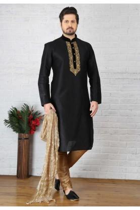 Black Color Art Silk Readymade Kurta Pajama
