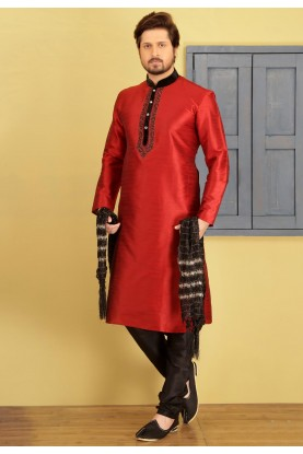 Attractive Maroon Color Designer Kurta Pajama