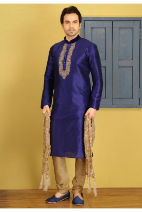 Exquisite Blue Color Art Silk Readymade Kurta For Mens