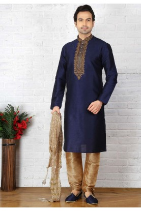 Blue Color Designer Kurta Pajama in Art Silk