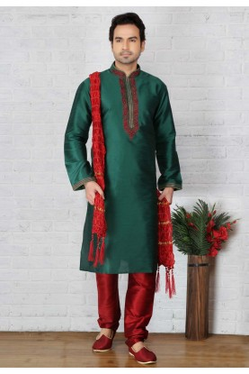 Traditional Look Green Color Readymade Kurta Pajama